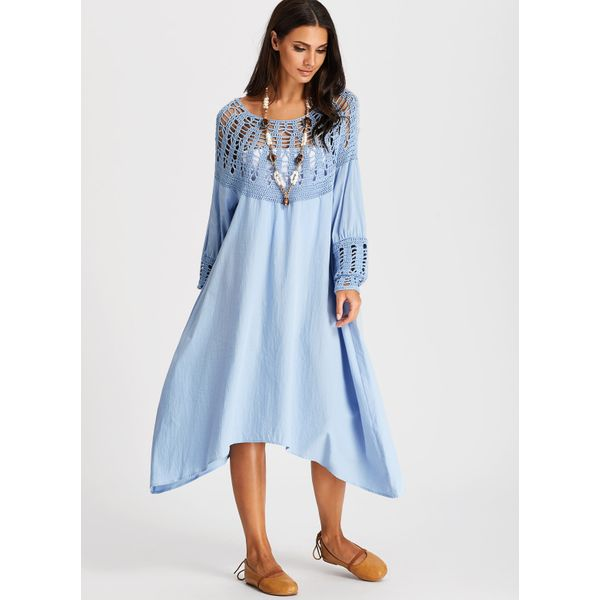 Solid Hollow Out Long Sleeve Midi Shift Dress (01955380535) 4