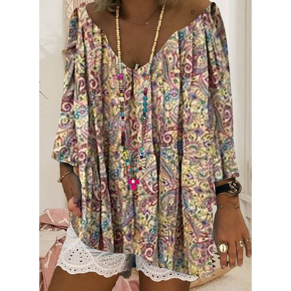 Plus Size Floral Casual V-Neckline 3/4 Sleeves Blouses (30355588820)