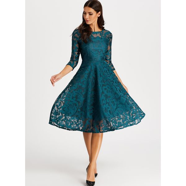 Solid Hollow Out Peasant Knee-Length A-line Dress (01955380548) 2