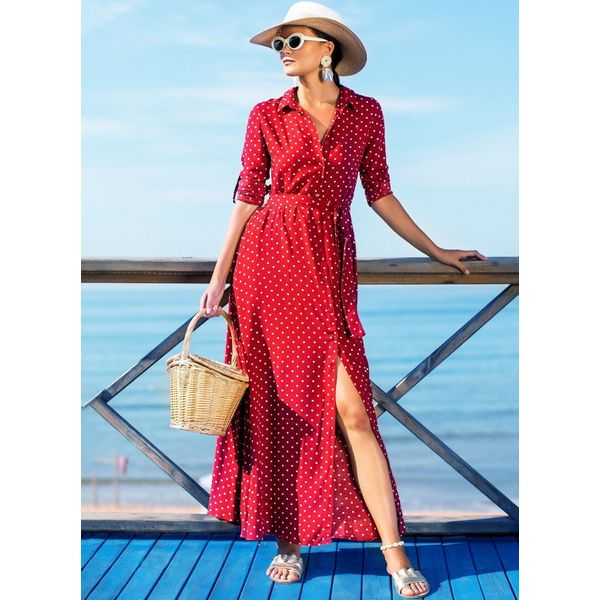 Polka Dot Buttons Long Sleeve Maxi X-line Dress (1955376646) 5