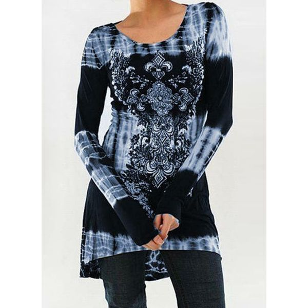 Boat Neckline Floral Tight Long Shift Sweaters (1675377450) 3