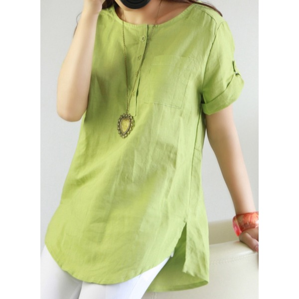 Solid Casual Round Neckline Short Sleeve Blouses (1645202648) 6