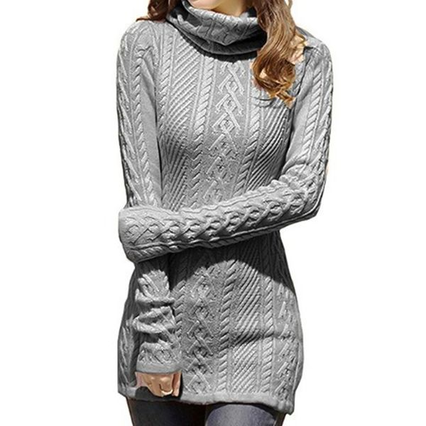 High Neckline Solid Tight Long Shift Sweaters (1675377426, White;green;blue;gray;red