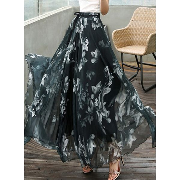 Floral Maxi Casual Sashes Skirts (1725380847) 4