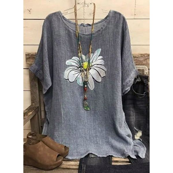 Floral Casual Round Neckline Short Sleeve Blouses (1645583327)