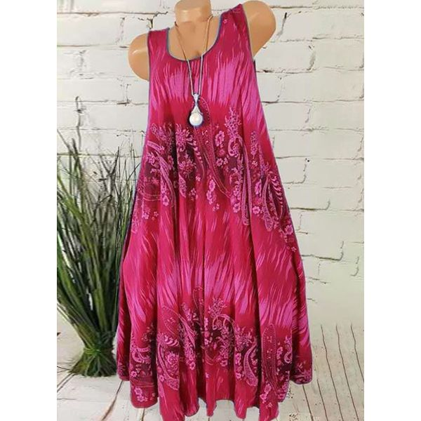 Casual Floral Tunic Round Neckline A-line Dress (1955596710)