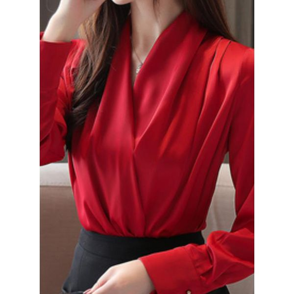 Solid Sexy V-Neckline Long Sleeve Blouses (1645568237)