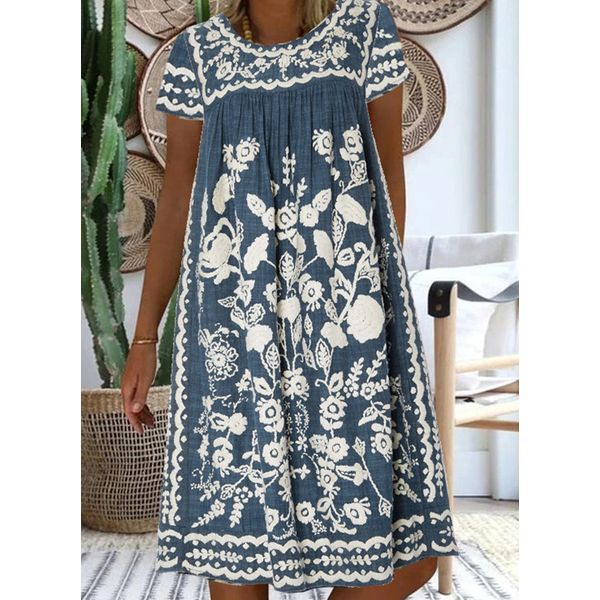 Casual Floral Tunic Round Neckline A-line Dress (1955588510)