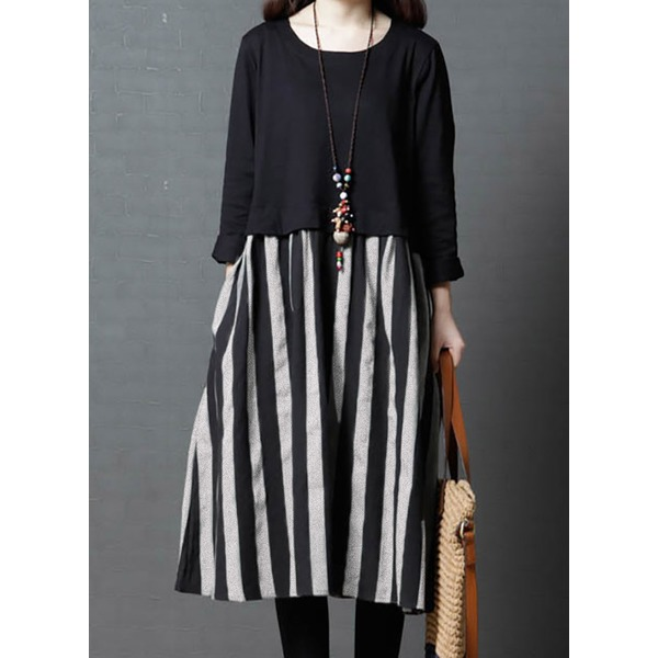 Solid Tshirt Long Sleeve Above Knee Shift Dress (1955263615) 9