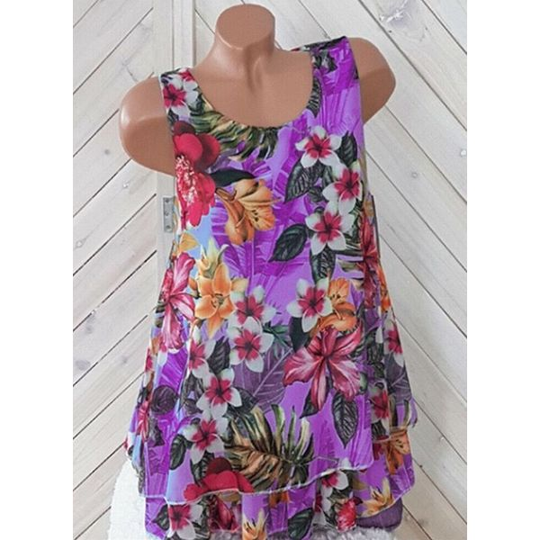Floral Casual Round Neckline Sleeveless Blouses (1645593409)