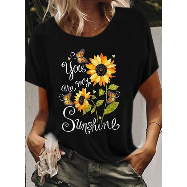 Floral Round Neck Short Sleeve Casual T-shirts (1685593715)