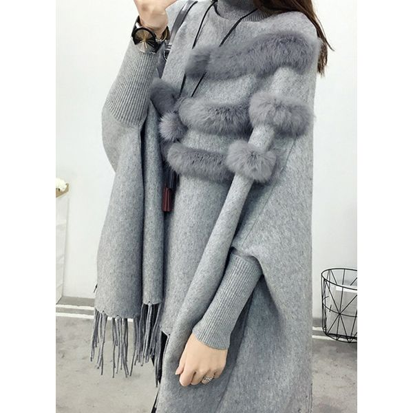 High Neckline Solid Loose Long Shift Sweaters (1675364027) 6