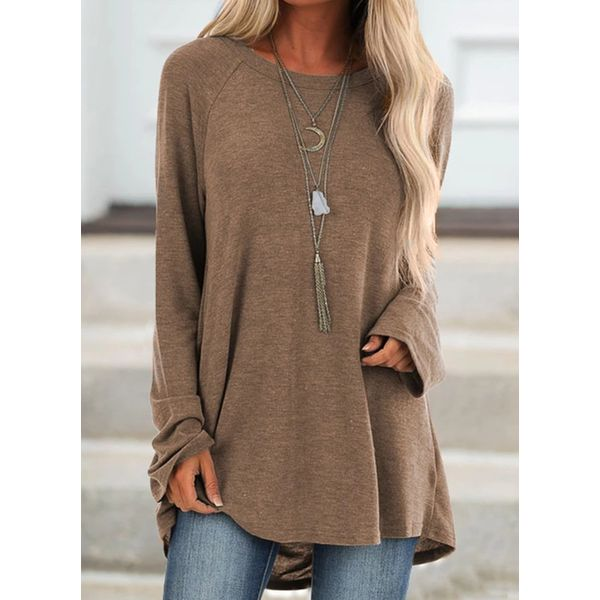 Solid Round Neck Long Sleeve Casual T-shirts (1685559012)