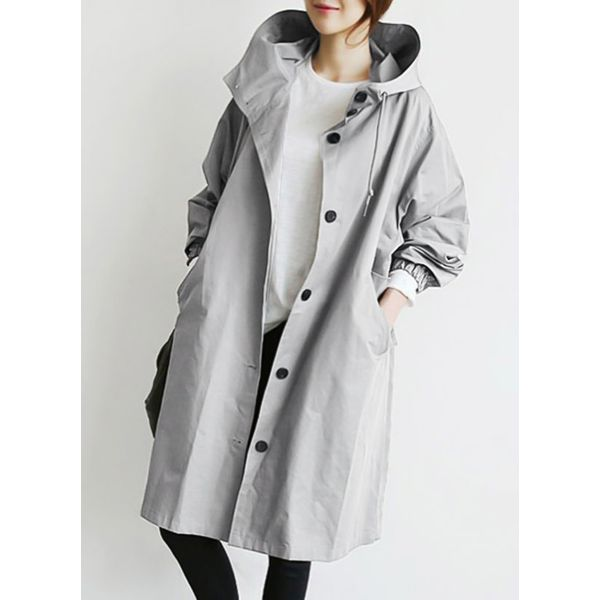 Long Sleeve Hooded Buttons Pockets Trench Coats (1715328348) 2