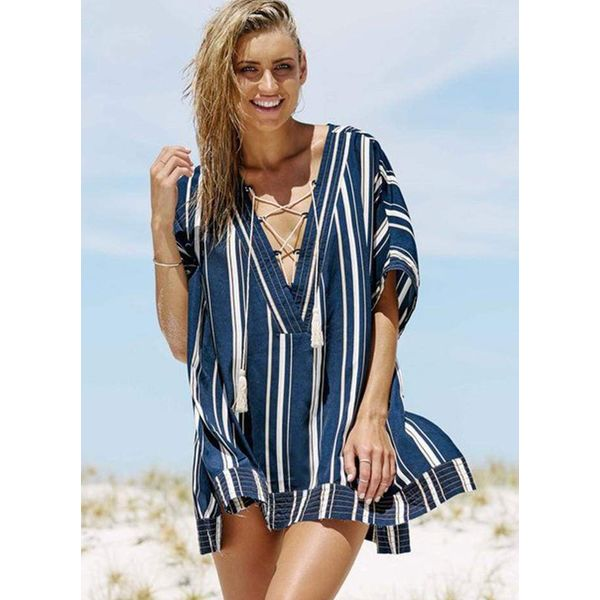 Cotton Color Block Cover-Ups Swimwear (30015381858) 4