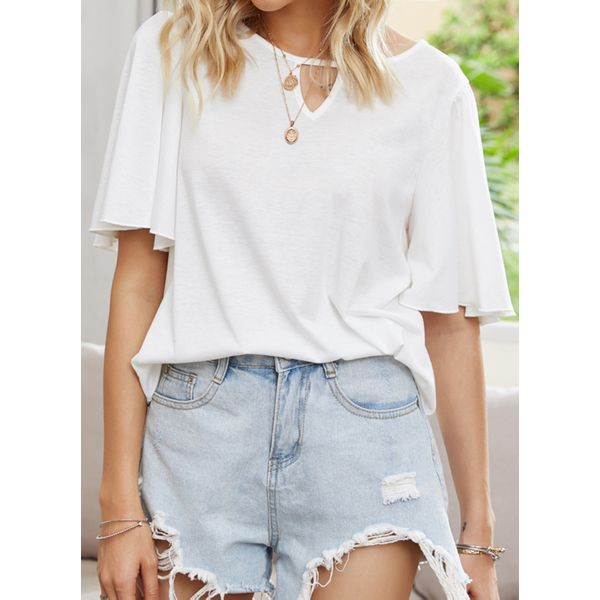 Solid Round Neck Half Sleeve Casual T-shirts (1685597636)
