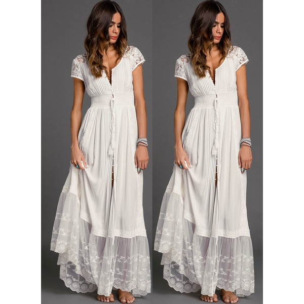 Solid Embroidery Peasant Maxi Shift Dress (01955308885) 5