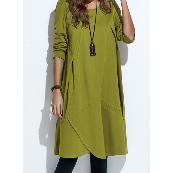 Casual Solid Others Round Neckline A-line Dress (1955131437)