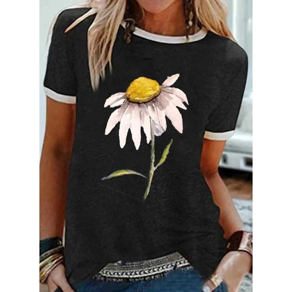 Floral Round Neck Short Sleeve Casual T-shirts (1685589671)