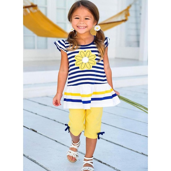 Girls' Color Block Daily Cap Sleeve Clothing Sets (30145313208) 11