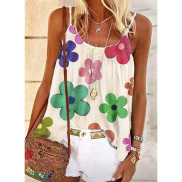 Floral Casual Camisole Neckline Sleeveless Blouses (1645593459)