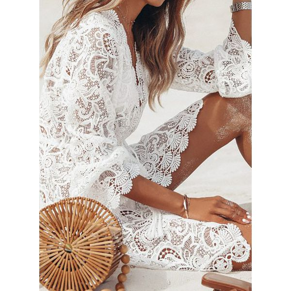 Lace Solid Cover-Ups Swimwear (30015499935)