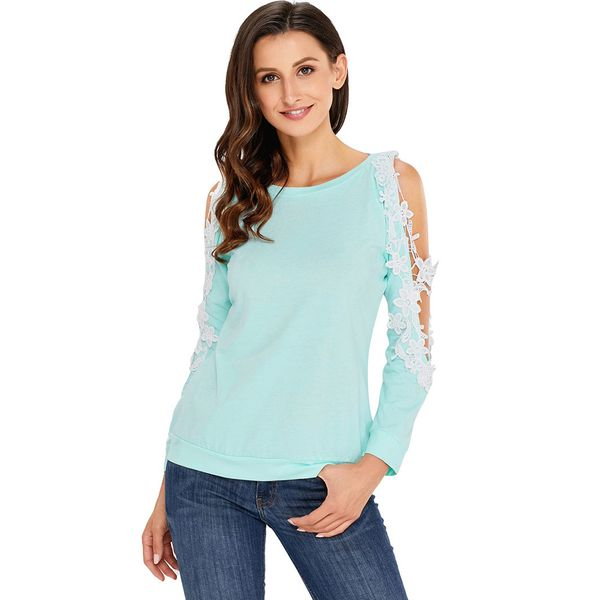 Floral Round Neck Long Sleeve Casual T-shirts (1685381661) 10