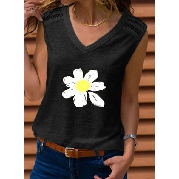 Floral V-Neckline Sleeveless Casual T-shirts (1685585400)