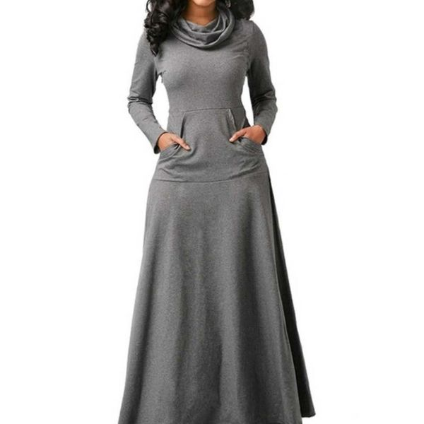 Solid Pockets Long Sleeve Maxi A-line Dress (1955343034)