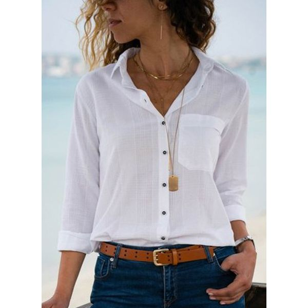 Solid Casual Collar 3/4 Sleeves Blouses (1645379001) 6