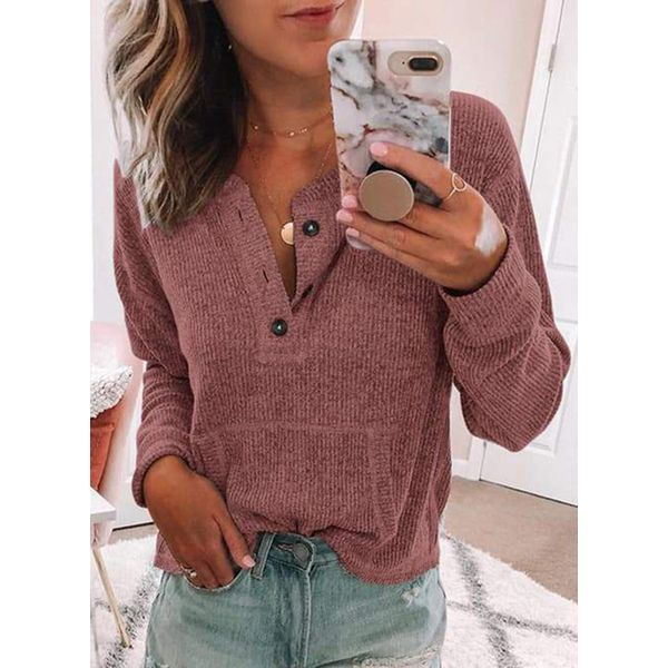 Solid Round Neck Long Sleeve Casual T-shirts (1685381630) 11