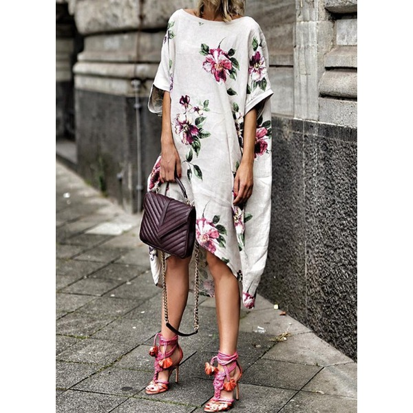 Floral Half Sleeve High Low O Dress (1955299049) 1