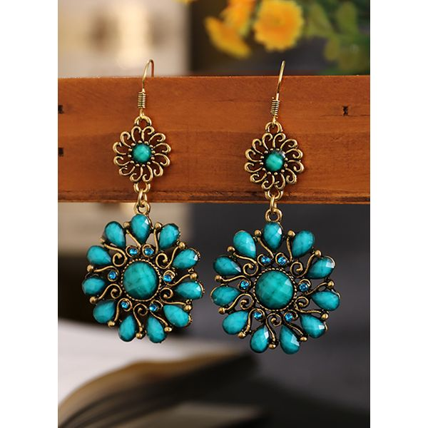 Casual Floral No Stone Dangle Earrings (1855584571)