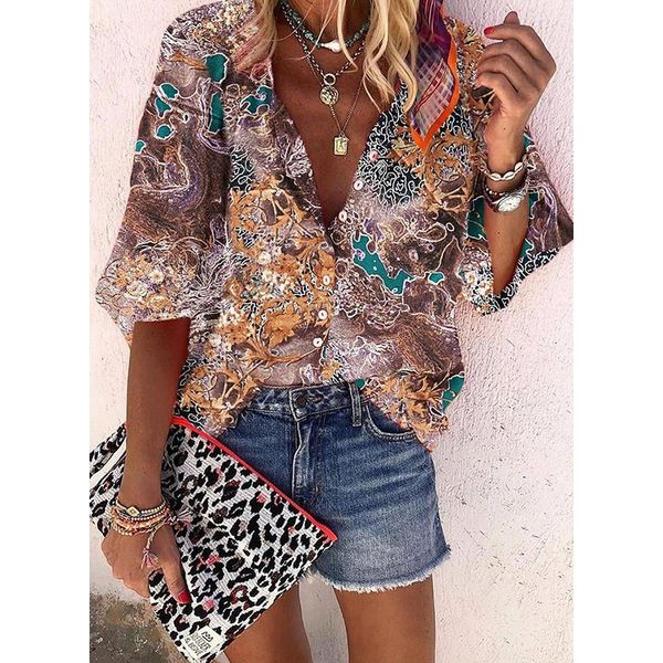 Floral Casual Collar Long Sleeve Blouses (1645555745)