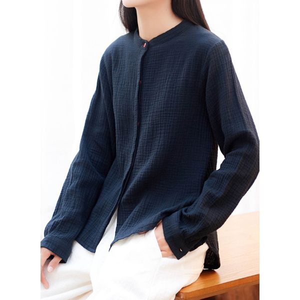 Solid Casual Round Neckline Long Sleeve Blouses (1645381746) 2