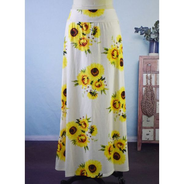 Floral Maxi Casual Pattern Skirts (1725596681)