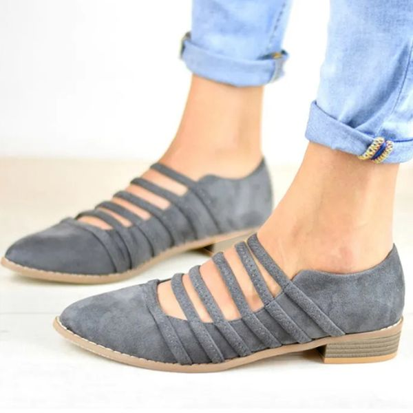Hollow-out Closed Toe Low Heel Shoes (1625399866, Black;gray;apricot