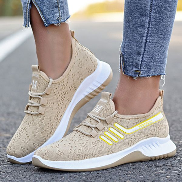 Women's Lace-up Hollow-out Closed Toe Fabric Wedge Heel Sneakers (1625596822)