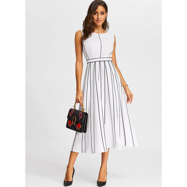 Stripe Skater Sleeveless Midi A-line Dress (01955382312) 10