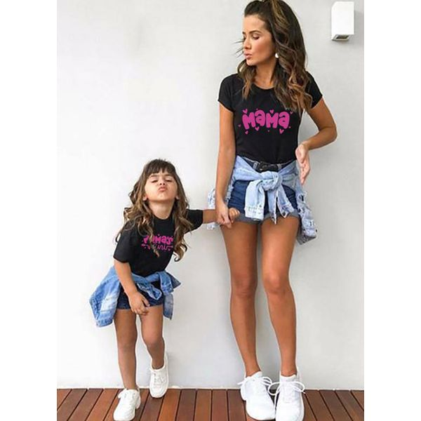 Mommy and Me Alphabet Casual Short Sleeve Family Outfits (30245570739)