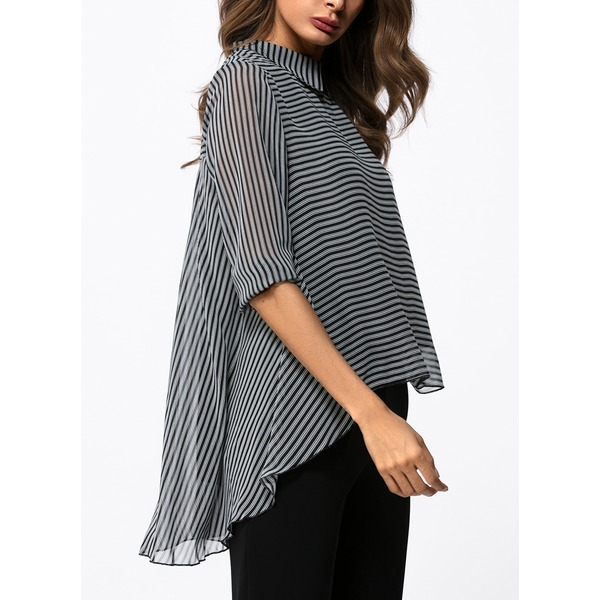 Stripe Casual Collar Long Sleeve Blouses (1645146009) 3