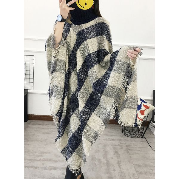 High Neckline Plaid Cape Loose Regular Shift Sweaters (1675382224) 6