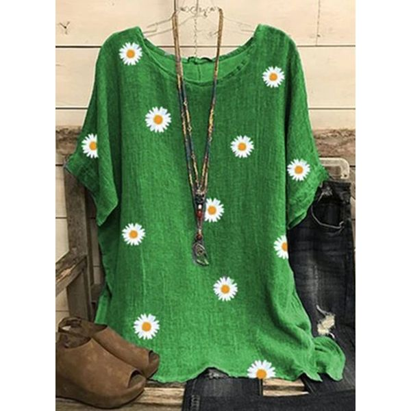 Floral Round Neck Short Sleeve Casual T-shirts (1685582699)