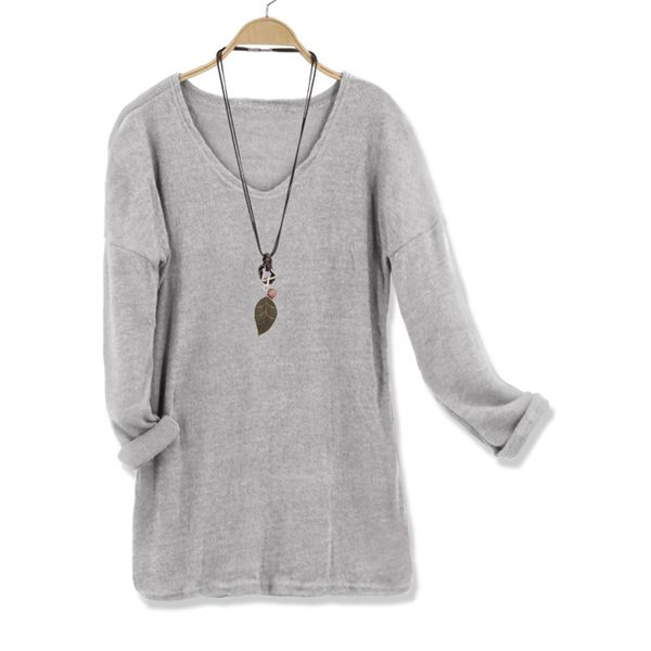 V-Neckline Solid Loose Regular Shift Sweaters (1675380144, Apricot;white;pink;gray;coffee;dark blue;light blue