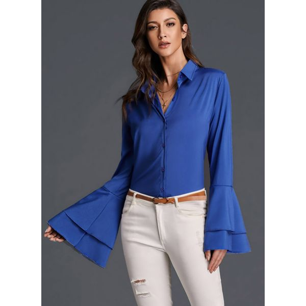 Solid Casual Collar Long Sleeve Blouses (01645376063) 4