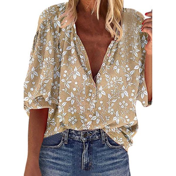 Floral Casual Round Neckline Short Sleeve Blouses (1645583601)