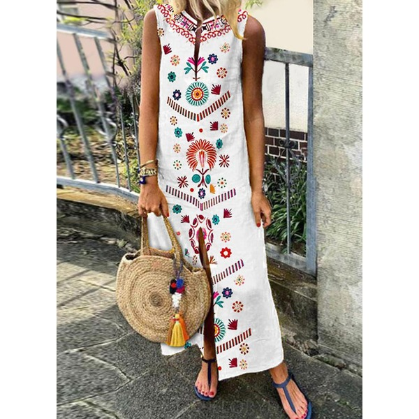 Color Block Embroidery Peasant Maxi A-line Dress (1955308832) 10