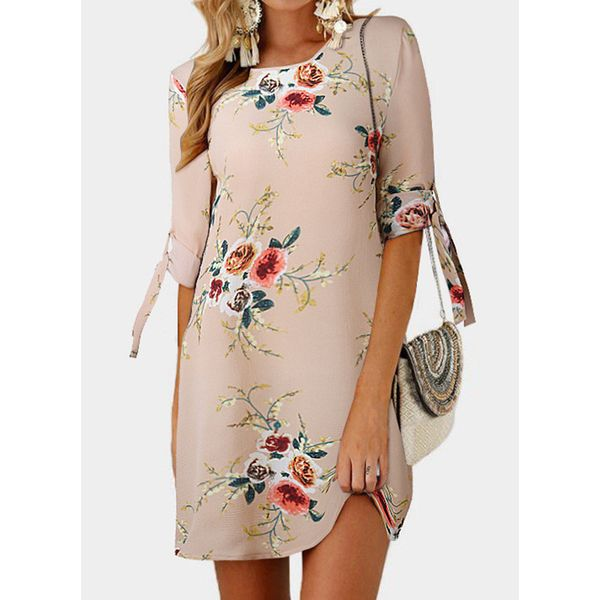 Casual Floral Tunic Round Neckline Shift Dress (1955561253)