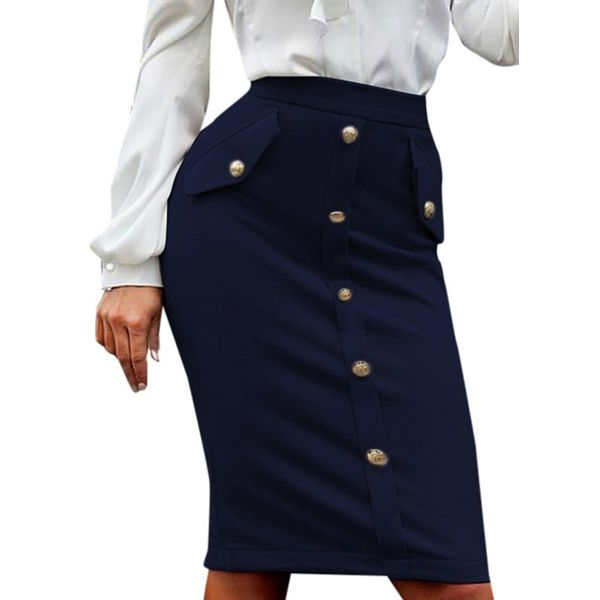 Solid Knee-Length Elegant Buttons Skirts (1725377829) 7