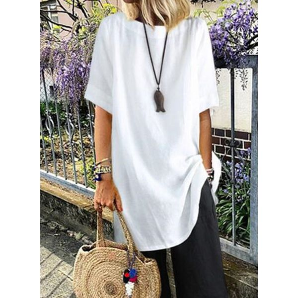 Solid Casual Round Neckline Half Sleeve Blouses (1645593537)